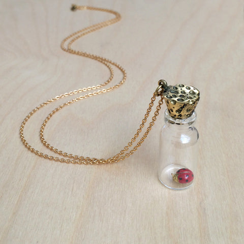 Ladybug In Bottle Brass Necklace
