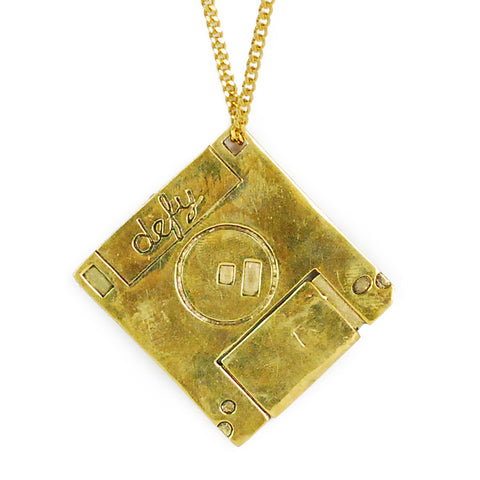 Hard Disk Brass Necklace