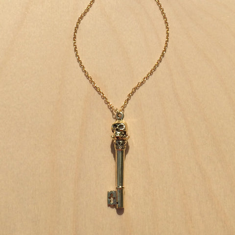 Skull Key Brass Necklace