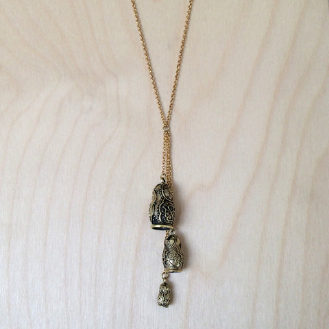 Babushka Doll Brass Necklace