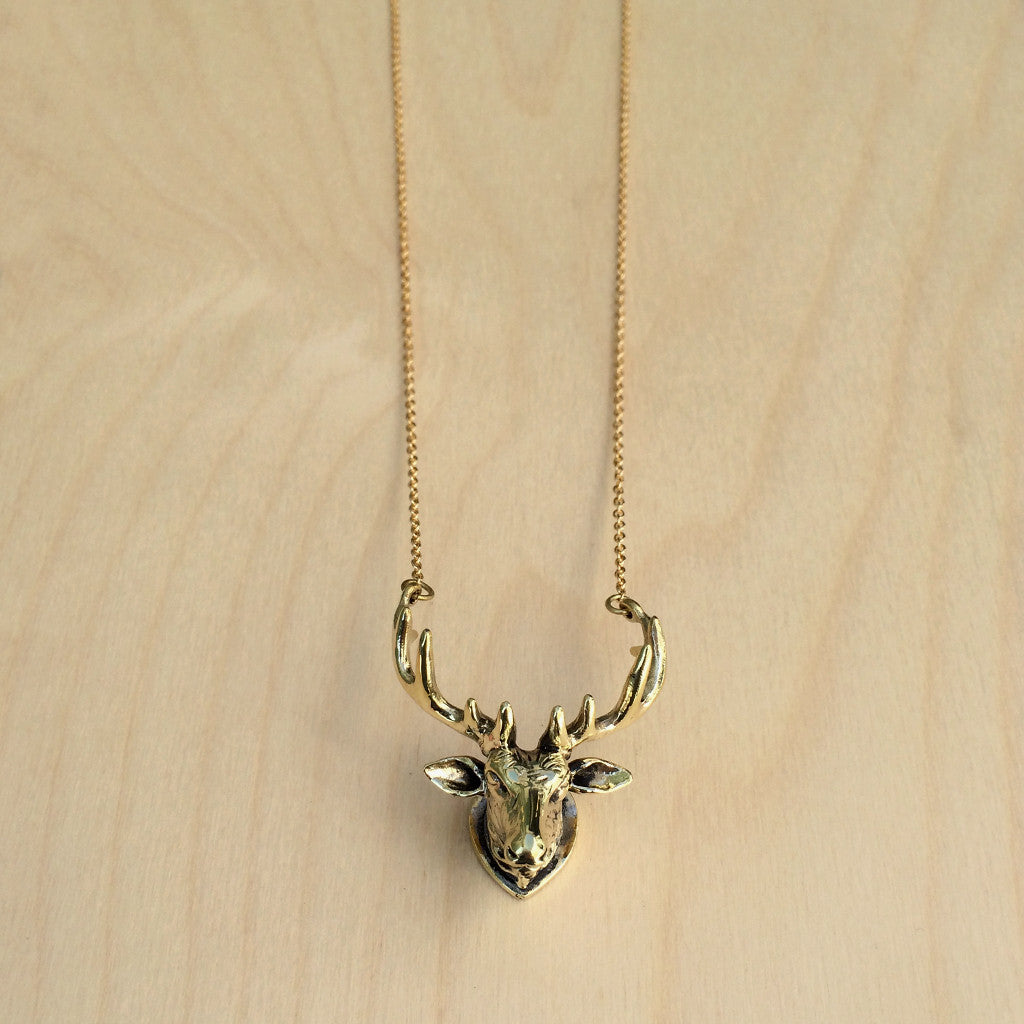 Moose Head Wall Decor Brass Necklace