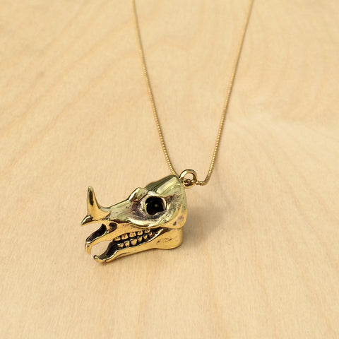 Rhino Skull Brass Necklace
