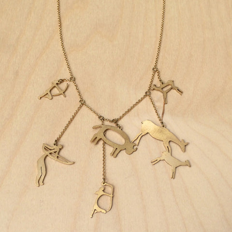 Cave Art Brass Necklace