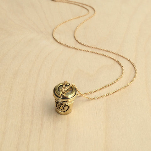 Coffee Cup Brass Necklace