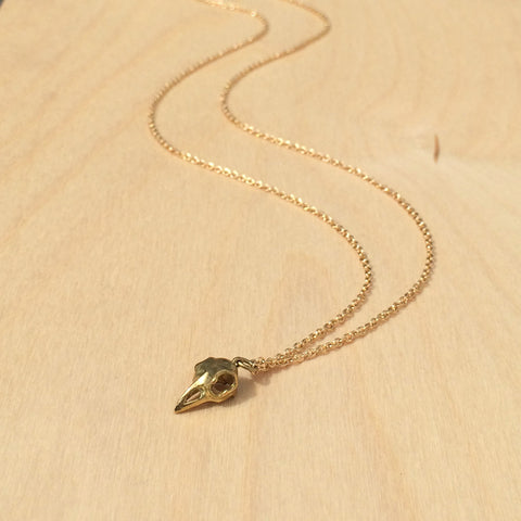 Mini Bird Skull Brass Necklace