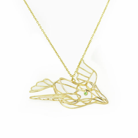 Wire Dove Brass Necklace