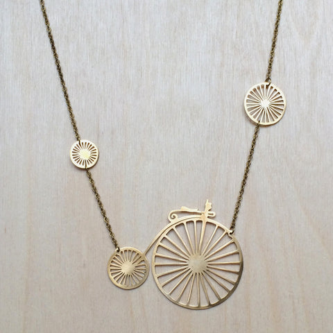 Vintage Bicycle Brass Necklace