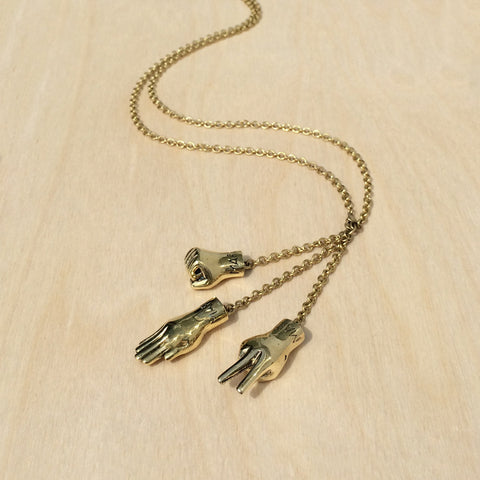 Rock Paper Scissors Brass Necklace