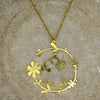Large Tendril Flower Brass Necklace