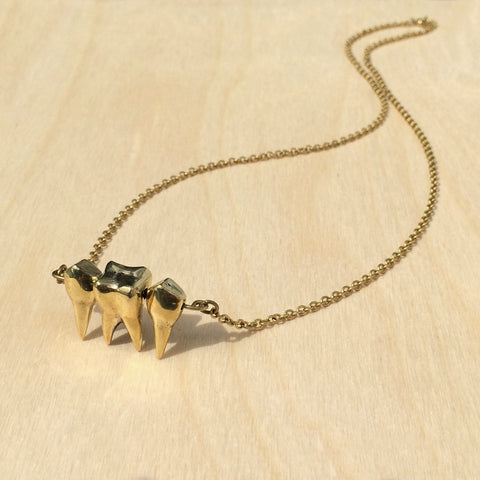3 Teeth Brass Necklace