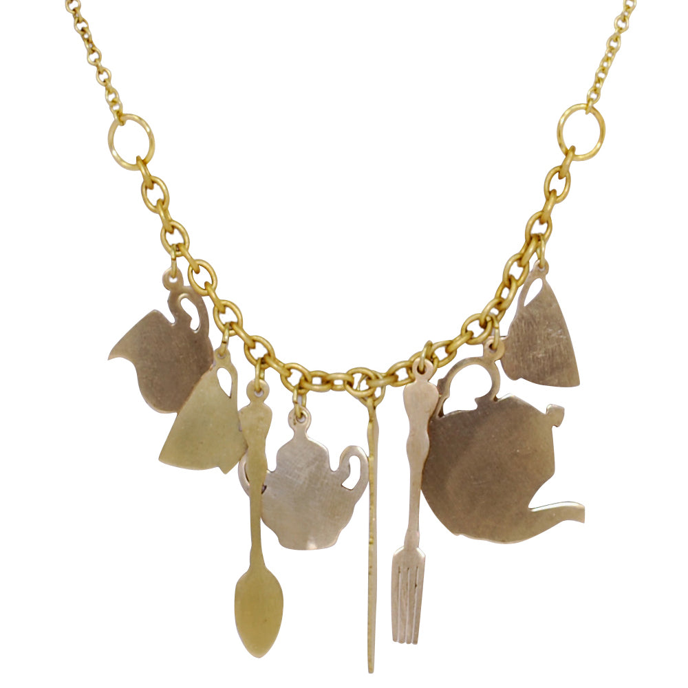 Teatime Charm Brass Necklace