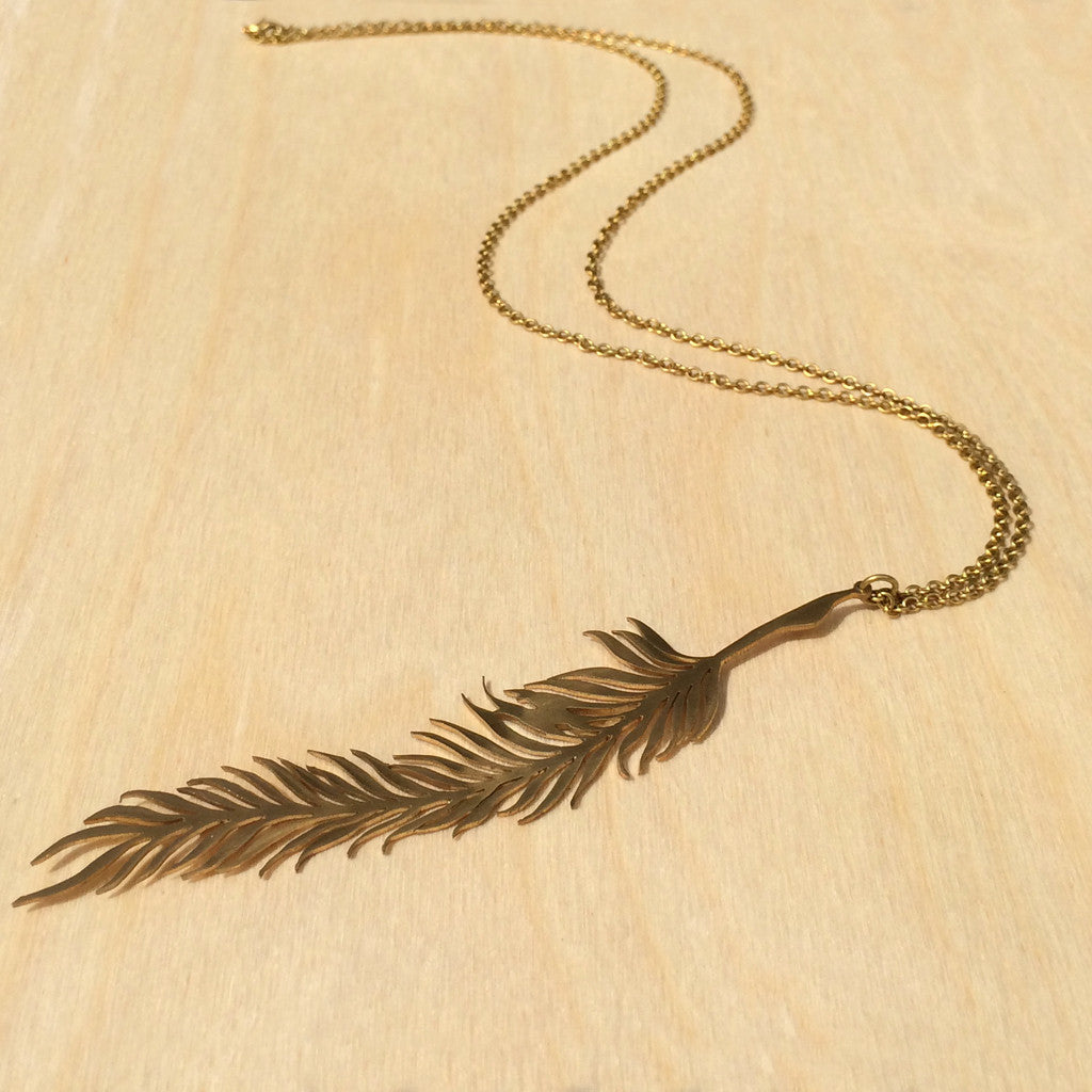 Feather Brass Necklace