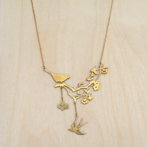 Birds on Blossom Brass Necklace