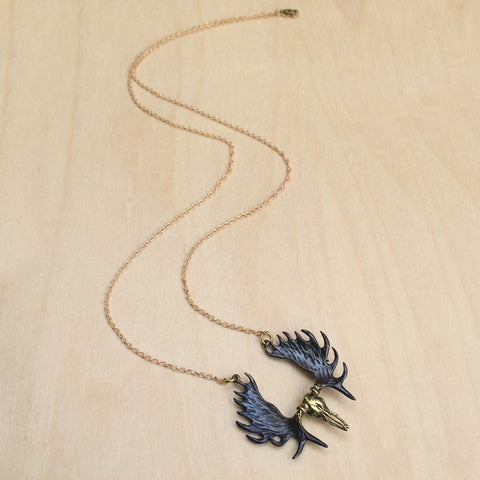 Moose Skull Brass Necklace
