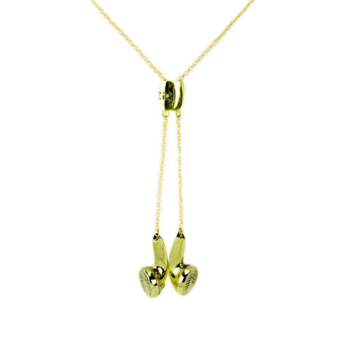 Earbuds Brass Necklace