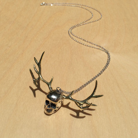 Skull with Antlers White Bronze Necklace
