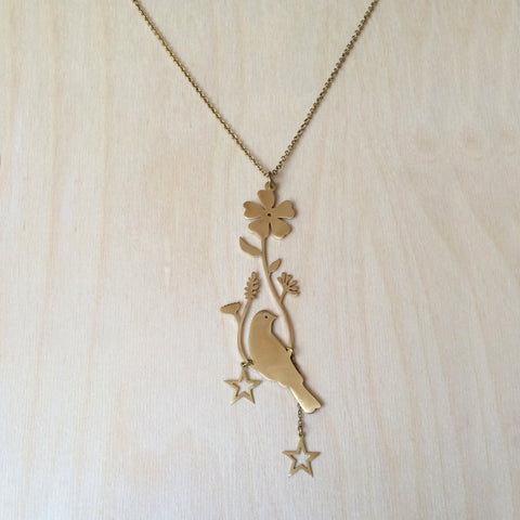 Vining Bird Brass Necklace