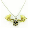 Skull with Moose Antlers White Bronze Necklace