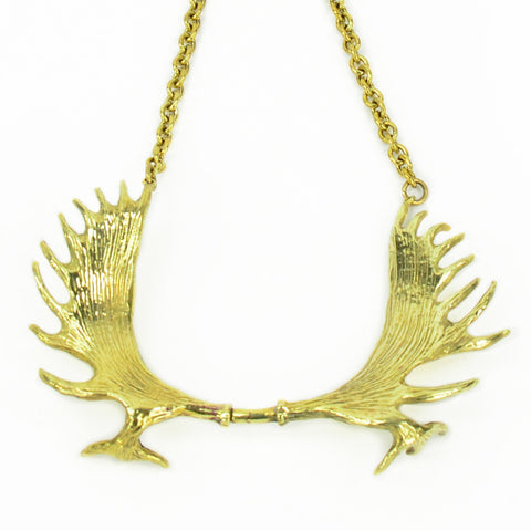 Moose Antlers Brass Collar Necklace