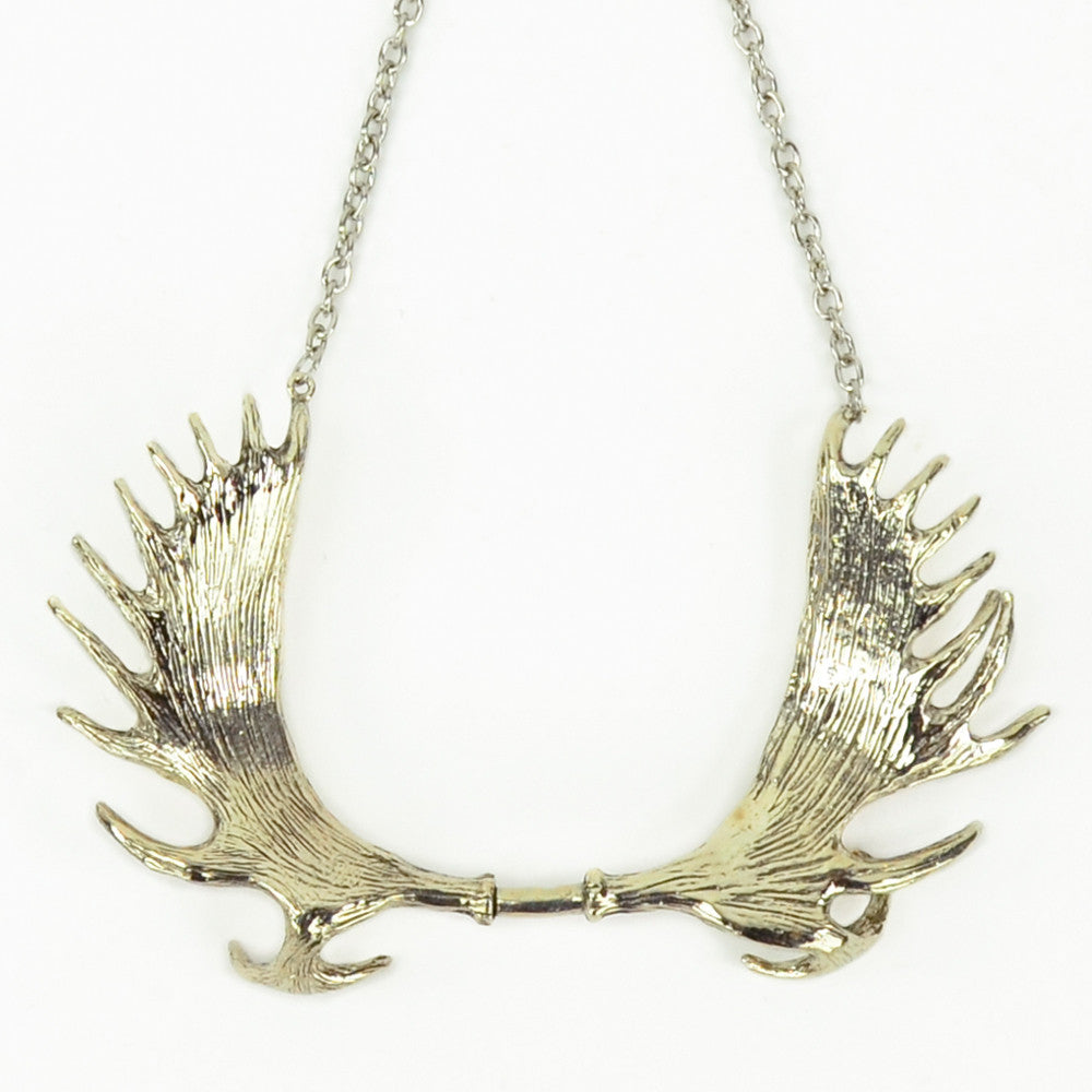 Moose antlers white bronze collar necklace monserat de lucca moose antlers white bronze collar necklace aloadofball Images
