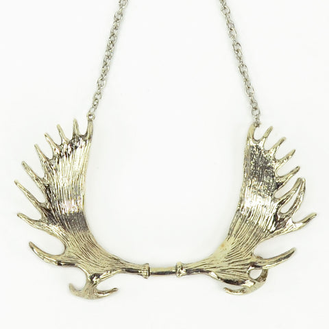 Moose Antlers White Bronze Collar Necklace