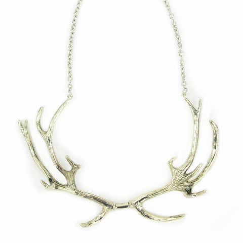 Antlers White Bronze Collar Necklace