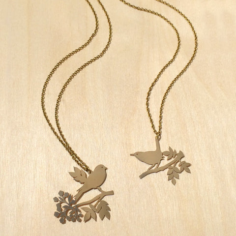 Friendship Bird 2pc Brass Necklace Set
