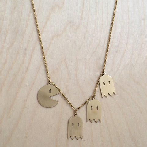 Pac Man Brass Necklace