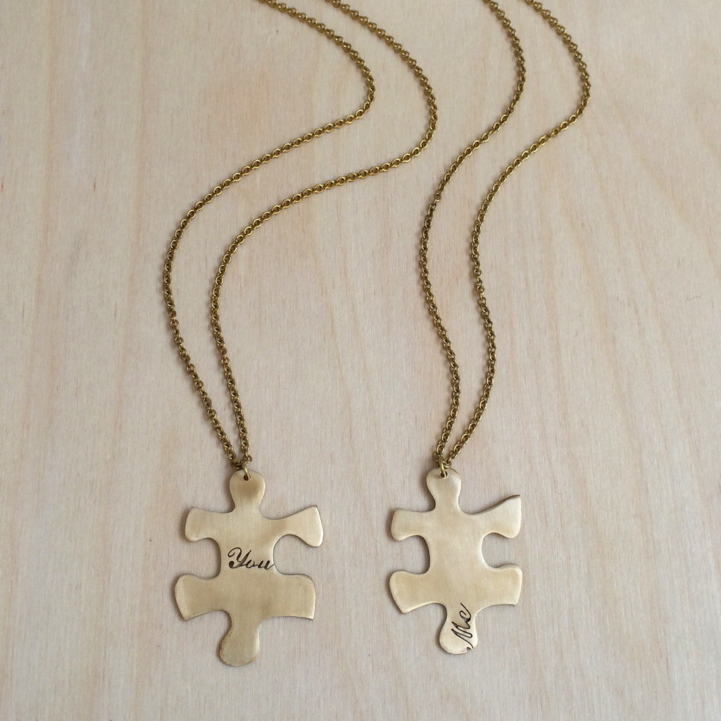 puzzle friendship product set jigsaw engraving enhanced silver personalised lr piece necklace