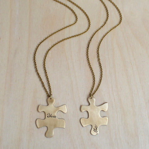 Friendship Puzzle 2pc Brass Necklace Set