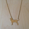 Dog and Bone Brass Necklace