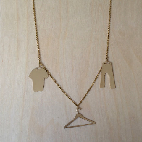 Shirt Hanger Pants Brass Necklace
