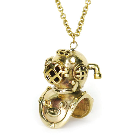 Scuba Diver Brass Necklace