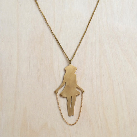 Girl With Jumprope Brass Necklace