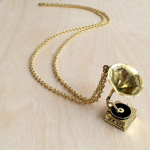 Phonograph Brass Necklace