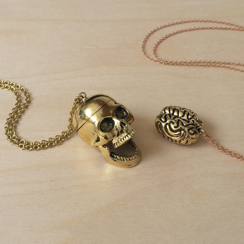 Skull with Brain 2pc Brass Necklace Set