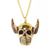 Skull with Wings Brass Necklace
