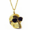 Skull with Sunglasses Brass Necklace