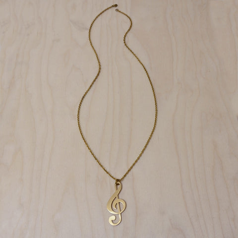 Treble Clef Note Brass Necklace