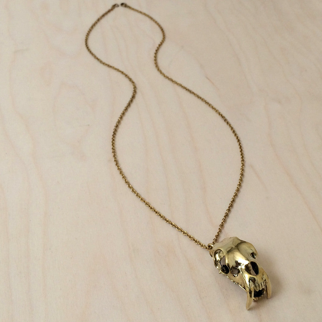 Saber Skull Brass Necklace