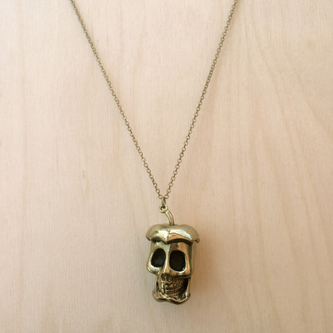 Apple Skull Brass Necklace