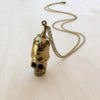 Eggplant Skull Brass Necklace