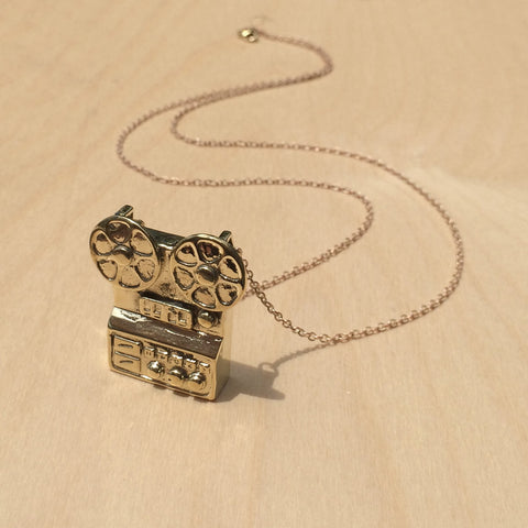 Film Projector Brass Necklace