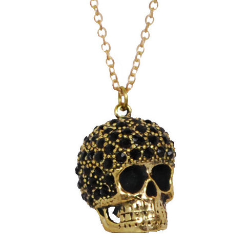 Black Rhinestone Studded Fro Skull Brass Necklace