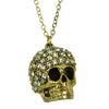 Clear Rhinestone Studded Fro Skull Brass Necklace