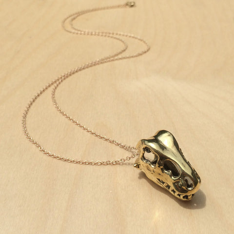 T-Rex Skull Brass Necklace