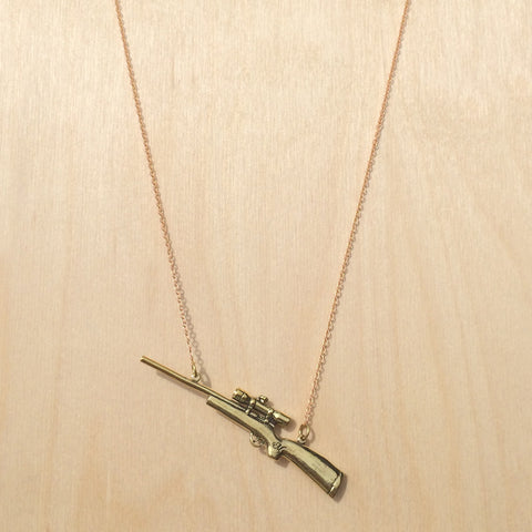 Hunting Rifle Brass Necklace
