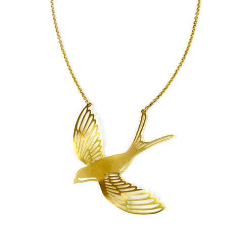 Large Mockingbird Brass Necklace
