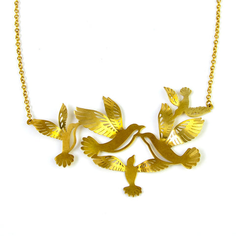Flight of Mockingbirds Brass Necklace