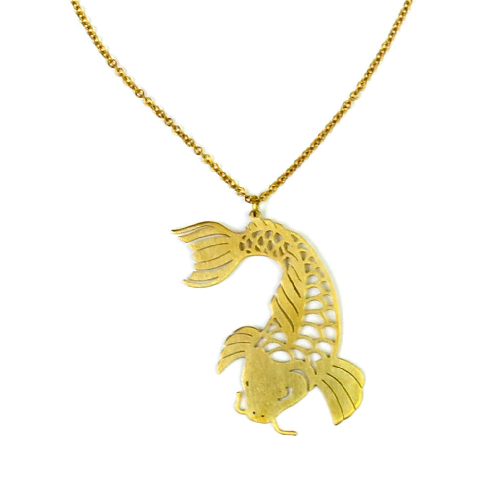 Koi Fish Brass Necklace